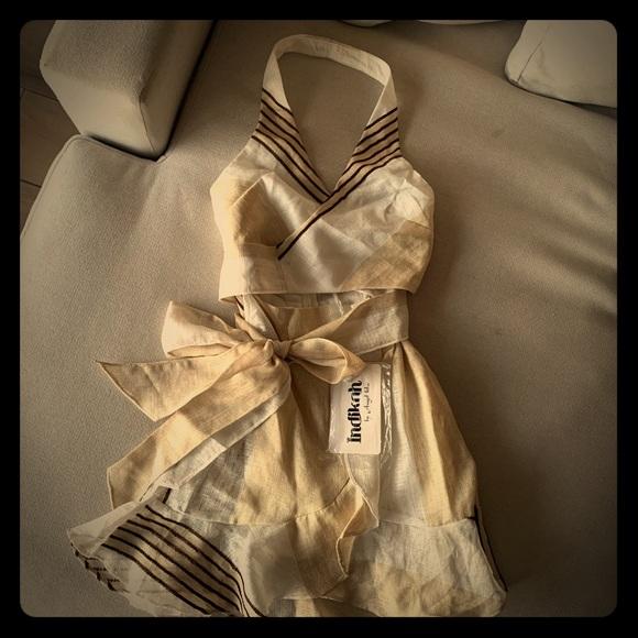 Sabo Skirt Dresses & Skirts - Linen-like halter wrap mini dress from Saboskirt